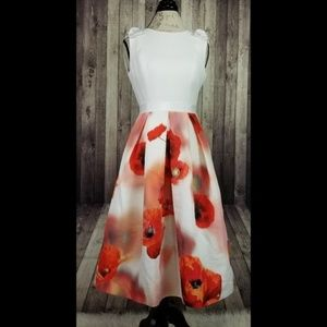 Ted Baker Playful Poppy Bow Skirt Dress in white